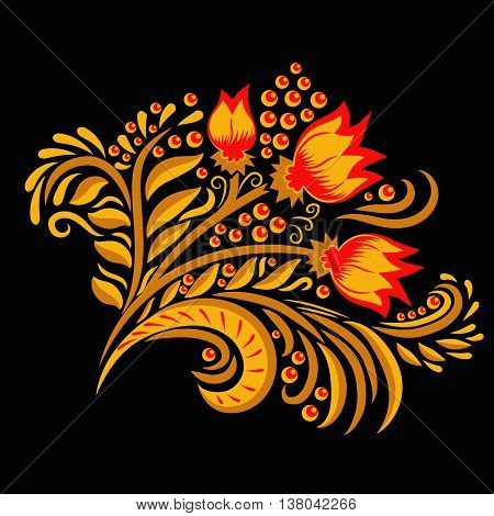Khokhloma decorated gold and red ornament on black background. Design element. Illustration for greeting cards, invitations, and other printing projects.