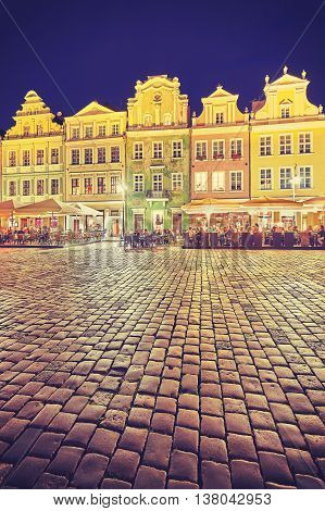 Vintage Toned Old Market Square In Poznan At Night.