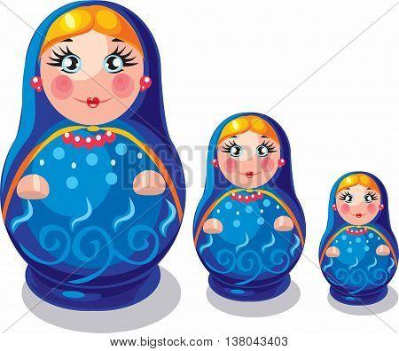 Russian folk matryoshka doll toy vector illustration