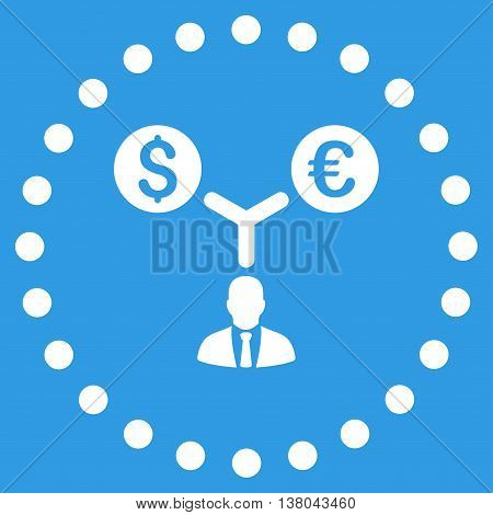 Currency Management vector icon. Style is flat circled symbol, white color, rounded angles, blue background.