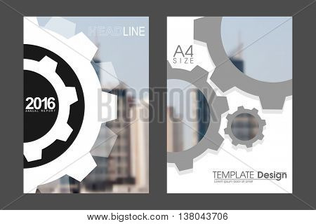 Two A4 size, technology gear elements annual report marketing business corporate design template. eps10 vector