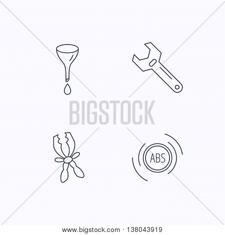 Adjustable wrench, oil change and abs icons. Battery terminal linear sign. Flat linear icons on white background. Vector