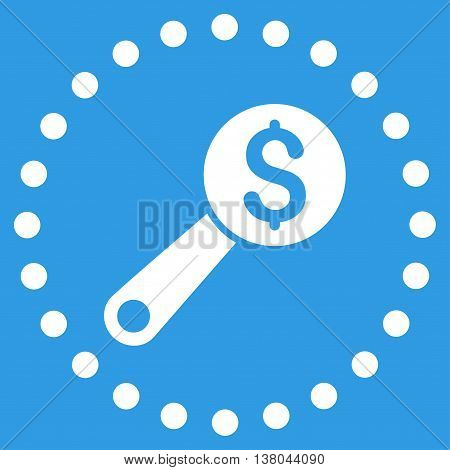 Financial Audit vector icon. Style is flat circled symbol, white color, rounded angles, blue background.