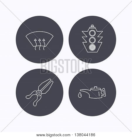 Motor oil change, traffic lights and pliers icons. Heated window linear sign. Flat icons in circle buttons on white background. Vector