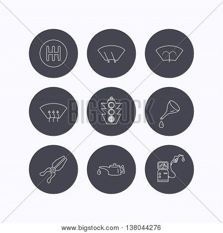 Motor oil change, traffic lights and pliers icons. Gas station, heated window and manual gearbox linear signs. Washing window icons. Flat icons in circle buttons on white background. Vector