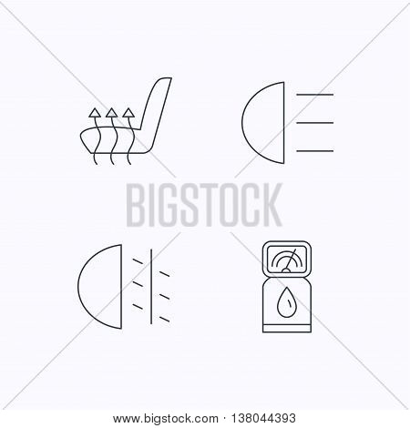 Petrol station, fog lights and heated seats icons. Gas fuel station linear sign. Flat linear icons on white background. Vector