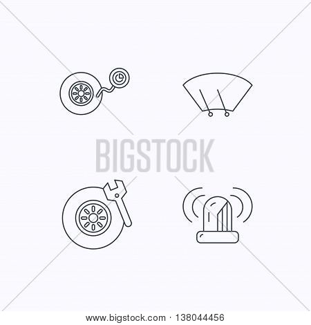 Wheel pressure, tire service and siren alarm icons. Car repair service station linear sign. Flat linear icons on white background. Vector