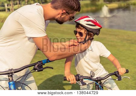 Dad And Son Cycling