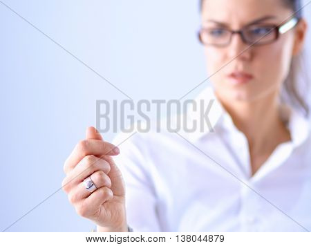 Woman hand hold virtual business card isolated on white background