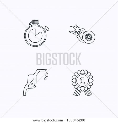 Winner award, petrol station and speed icons. Race timer linear sign. Flat linear icons on white background. Vector