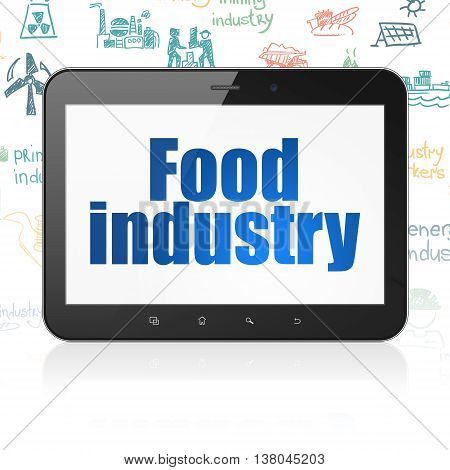 Industry concept: Tablet Computer with  blue text Food Industry on display,  Hand Drawn Industry Icons background, 3D rendering