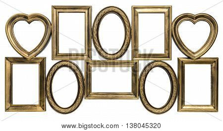 Gilded decorative photo frame with empty space