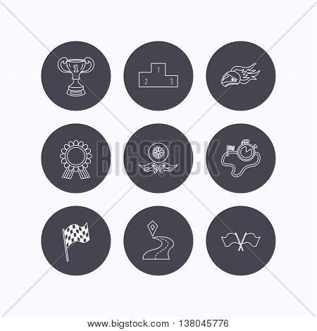 Winner cup and podium, award medal icons. Race flag, motorcycle helmet and timer linear signs. Destination pointer flat line icons. Flat icons in circle buttons on white background. Vector