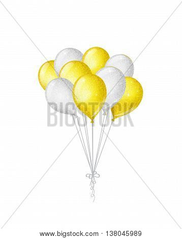 Bunch of golden and silver shimmering balloons isolated on white background