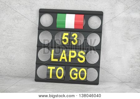 racing pit board with flag of Italy 3D rendering