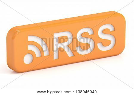 RSS icon 3D rendering isolated on white background