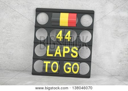 racing pit board with flag of Belgium 3D rendering