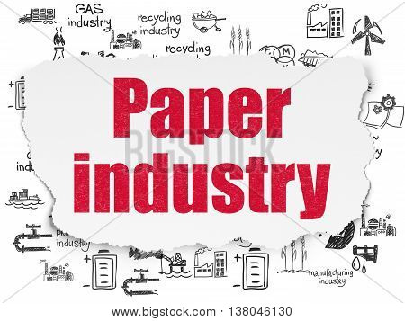 Manufacuring concept: Painted red text Paper Industry on Torn Paper background with  Hand Drawn Industry Icons