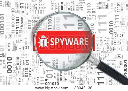 Computer Security Concept. Spyware Alert Inside Magnifying Glass