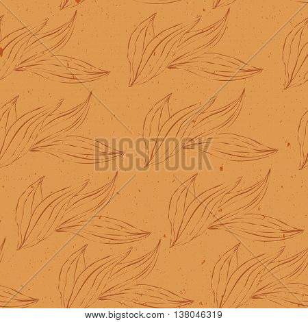 seamless pattern of white outline leaves on an orange grunge texture background. Seamless pattern can be used for pattern fills web page backgroundsurface textures. floral background