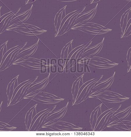 seamless pattern of white outline leaves on an purple grunge texture background. Seamless pattern can be used for pattern fills web page backgroundsurface textures. floral background