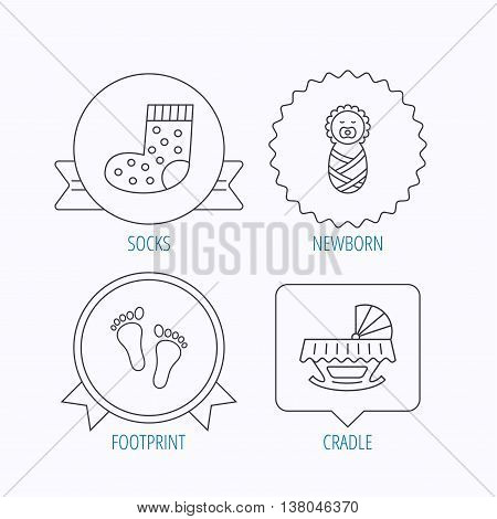 Footprint, cradle and newborn baby icons. Socks linear sign. Award medal, star label and speech bubble designs. Vector