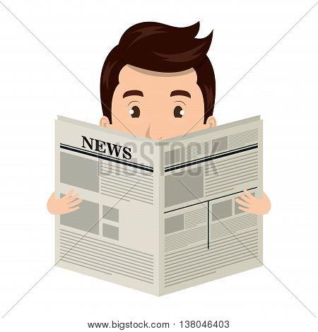 Man reading newspaper cartoon design, vector illustration graphic.