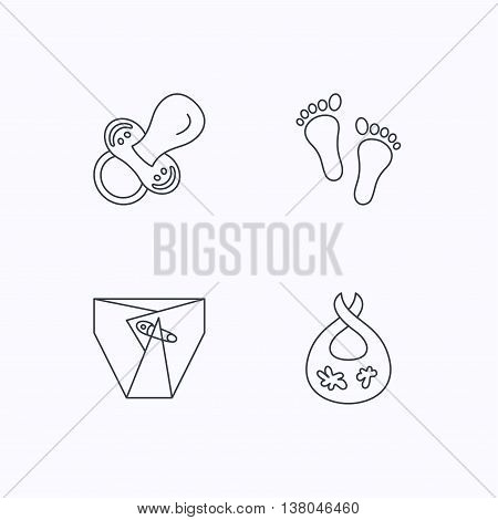 Pacifier, diapers and footprint icons. Dirty bib linear sign. Flat linear icons on white background. Vector