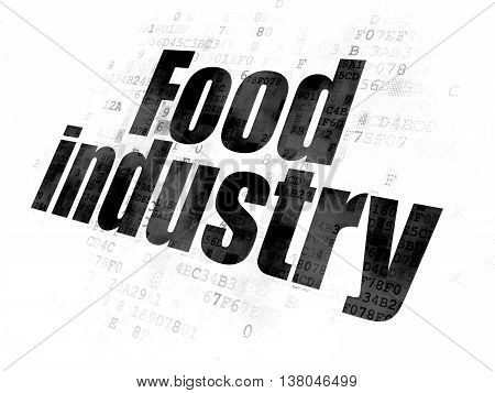 Industry concept: Pixelated black text Food Industry on Digital background