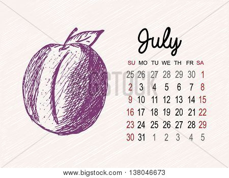 Calendar for 2017 on fruits background. Jule month with plum hand made in sketch style. Vector illustration