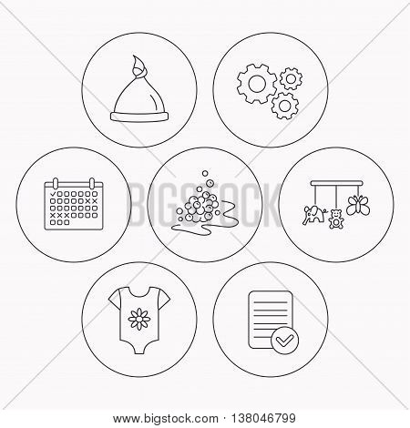 Baby clothes, bath bubbles and hat icons. Baby toys linear signs. Check file, calendar and cogwheel icons. Vector