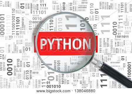 Software Development Concept. Python Programming Language Inside
