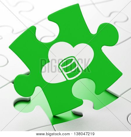 Database concept: Database With Cloud on Green puzzle pieces background, 3D rendering