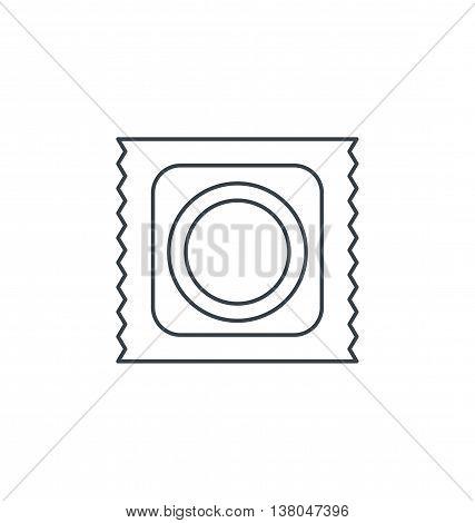Monochrome outline flat condom icon safe sex health vector illustration