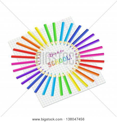 Vector illustration of crayons and text Back to school