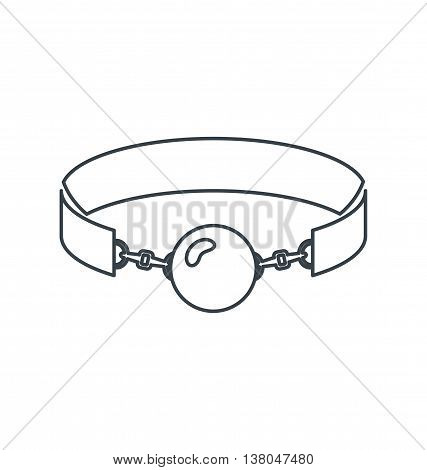 Monochrome outline silhouette silicone ball gag with a leather belt vector illustration