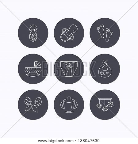 Pacifier, newborn and baby toys icons. Footprint, diapers and cradle bed linear signs. Mug, dirty bib flat line icons. Flat icons in circle buttons on white background. Vector