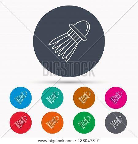 Shuttlecock icon. Badminton sport equipment sign. Speedminton symbol. Icons in colour circle buttons. Vector