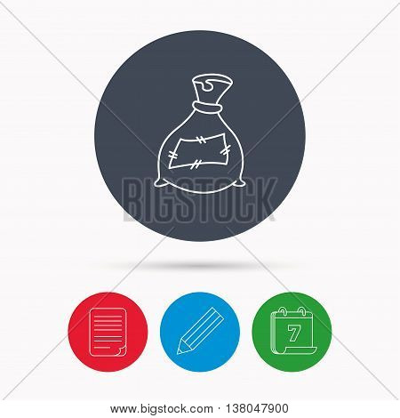 Bag with fertilizer icon. Fertilization sack sign. Farming or agriculture symbol. Calendar, pencil or edit and document file signs. Vector