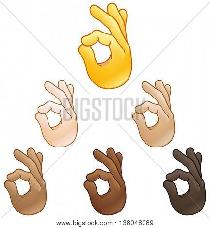 Ok hand sign set of various skin tones