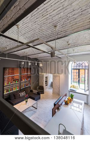 Industrial Design Interior With Mezzanine