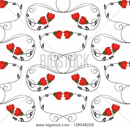 Vector floral ornament. Seamless pattern of curly black lines with leaves and red flowers