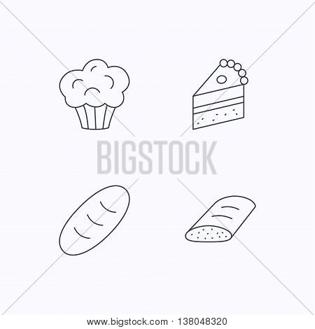 Sweet muffin, cake and bread icons. Piece of cake linear sign. Flat linear icons on white background. Vector