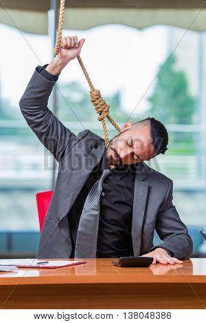 Businessman hanging himself after bankruptcy