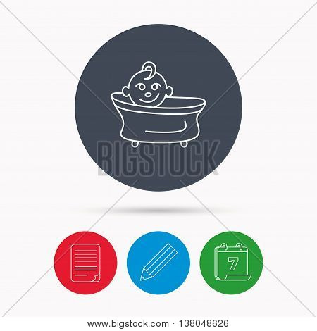 Baby in bath icon. Toddler bathing sign. Newborn washing symbol. Calendar, pencil or edit and document file signs. Vector