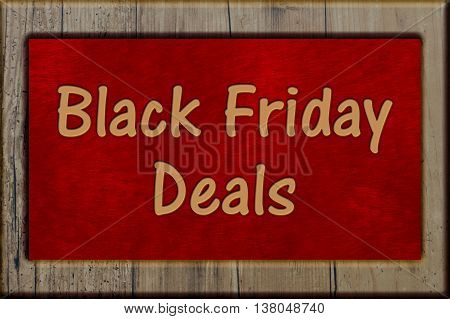 Black Friday Shopping Deals Weathered wood frame with plush red background with text Black Friday Deals, 3D Illustration