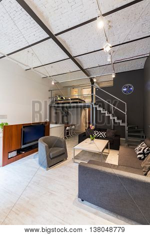 Modern Loft With Mezzanine Idea