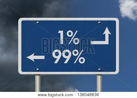 The 1% ers versus the 99% ers Blue Road Sign with text 1% and 99% with bright and stormy sky background, 3D Illustration