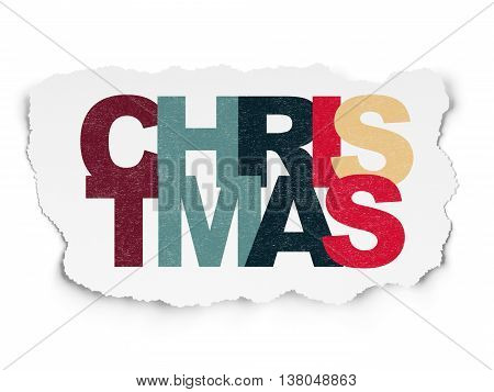 Holiday concept: Painted multicolor text Christmas on Torn Paper background