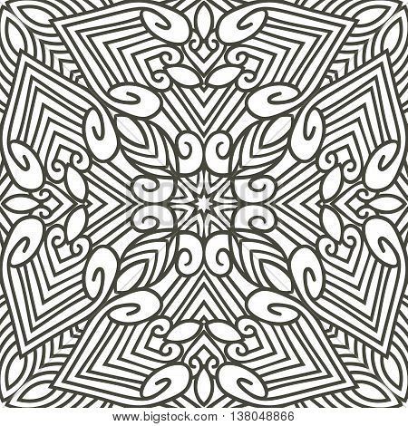 Abstract monochrome hand drawn seamless pattern. Vector abstract ornament with lines and swirls